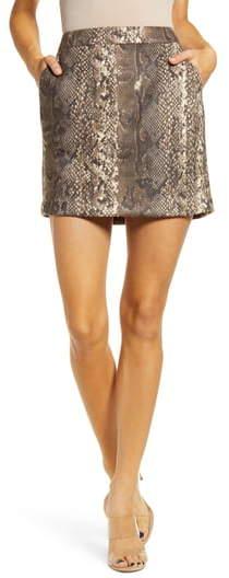 Vero Moda Donna Snake Print Faux Suede Miniskirt