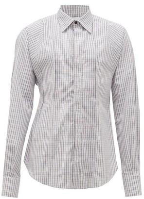 Bianca Saunders - Checked Contour-seam Cotton Shirt - Mens - Navy