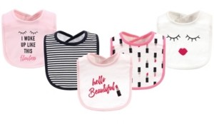 Little Treasure Cotton Drooler Bibs, 5 Pack, Lipstick