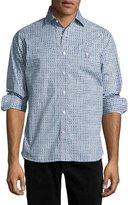 Psycho Bunny Geometric-Print Cotton Sport Shirt, Blue
