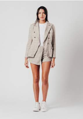 Oeuvre Brown check blazer with 5 button detail
