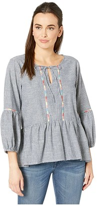 Mod-o-doc Embroidered Peasant Blouse in Ticking Stripe (Navy) Women's Blouse