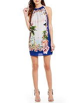 Chelsea & Violet Halter Neck Sleeveless Post Card Print Dress