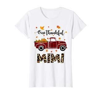Womens Leopard Plaid Truck Pumpkin - One Thankful Mimi Thanksgiving T-Shirt