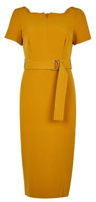 Dorothy Perkins Womens Petite Yellow Square Neck Belted Shift Dress, Yellow