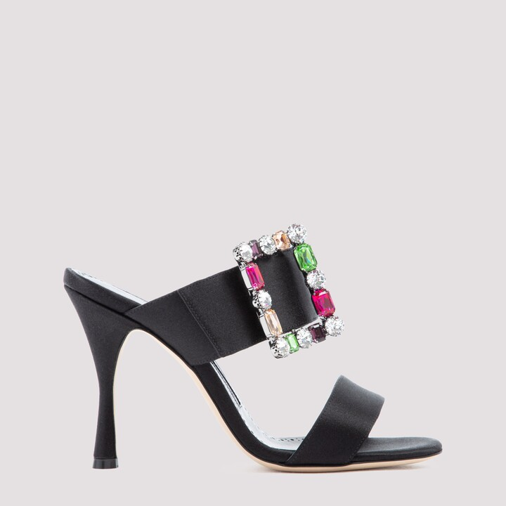 Thumbnail for your product : Manolo Blahnik Verda Embellished-Buckle Sandals