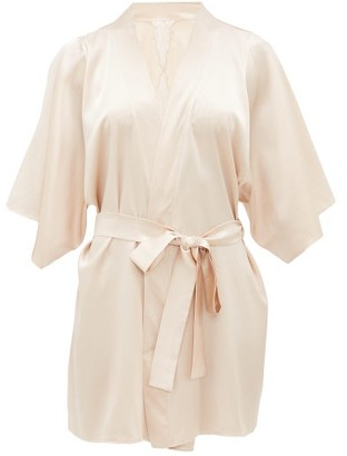 Fleur of England Dahlia Silk-blend Charmeuse Robe - Womens - Light Beige