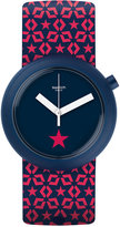 Swatch Unisex Swiss Lillapop Pink and Dark Blue Silicone Strap Watch 45mm PNN100