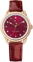 Tommy Hilfiger Women's Casual Sport Burgundy Leather Strap Watch 36mm 1781740