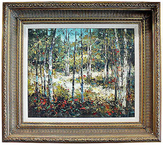 One Kings Lane Vintage Aspen Landscape Painting - House of Charm Antiques - white/red/brown/green; frame, gold