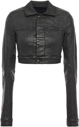 Rick Owens Cropped Waxed-denim Jacket