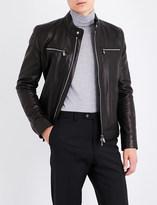 Corneliani Stand-collar grained leather jacket