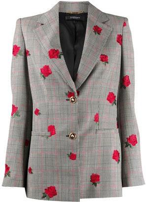 Versace Rose-Embroidered Check Blazer