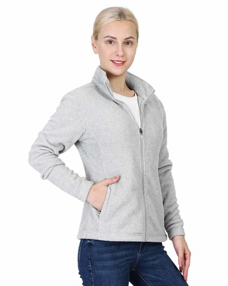 Outdoor Ventures Womens Zip Up Long-Sleeve Classic Fit Casual Soft Polar Fleece Jacket with 4 Pockets-S Navy