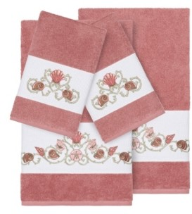 Linum Home Bella 4-Pc. Embroidered Turkish Cotton Bath and Hand Towel Set Bedding