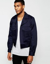 Asos Cropped Military Jacket In Navy