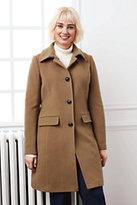 Lands' End Women's Plus Size Wool Car Coat-Gemstone Teal