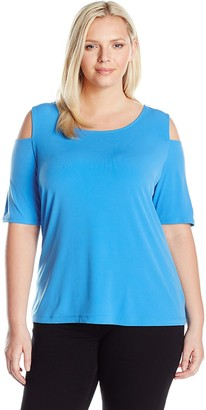 Nine West Women's Plus Size Solid Ity Top with Cold Shoulders (3)