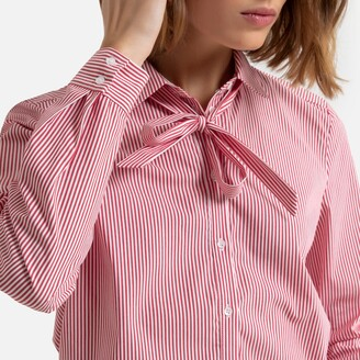 Esprit Striped Cotton Mix Shirt with Pussy Bow Collar