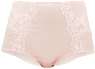 Dolce & Gabbana Lace-panelled Silk-blend Satin Briefs - Pink