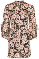 Topshop Peony Print Blush Tie Sleeve Tea Dress