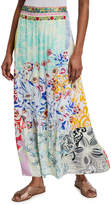 Johnny Was Amour Mixed-Print Maxi Skirt