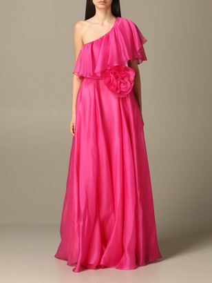 Blumarine Long Dress In Silk With Ruffles