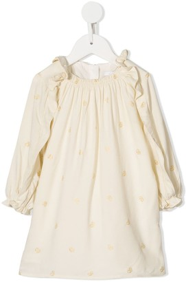 Chloé Kids monogram print long-sleeved dress