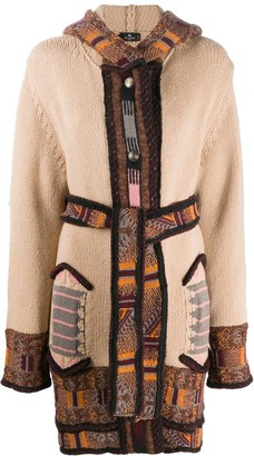 Etro Intarsia-Knit Hooded Cardi-Coat