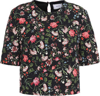 Erdem Cropped Floral-print Cloque Top
