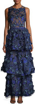 Marchesa 3-D Embroidered Sleeveless Tiered Gown