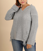 Umgee USA Gray Lace-Up Accent V-Neck Sweater - Plus Too