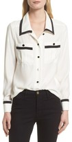 Frame Women's Piped Double Pocket Silk Shirt