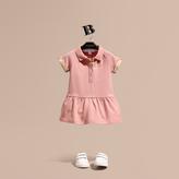 Burberry Check Detail Stretch Cotton Piqué Dress