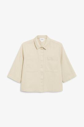 Monki Cropped denim shirt