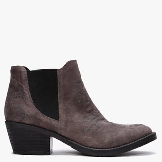 Kanna Philby Grey Suede Western Ankle Boots