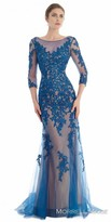 Morrell Maxie Embroidered Net Three-Quarter Sleeve Evening Dress