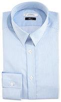 Versace Two-Tone Striped Dress Shirt, White/Blue