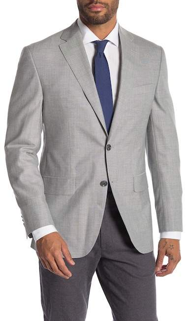 Jack Victor Conway Light Gray Woven Two Button Notch Lapel Sport Jacket