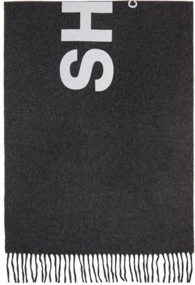 Comme des Garçons Shirt Grey Wool Logo Scarf