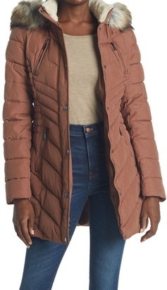 Laundry by Shelli Segal Faux Fur Trimmed Cinched Waist Puffer Jacket