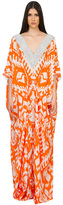 Caffe Swimwear - Long V-Neck Kaftan Dress In Orange