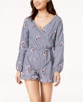 The Edit By Seventeen Juniors' Embroidered Gingham Romper, Created for Macy's