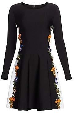 Oscar de la Renta Women's Long Sleeve Floral Side Panel Dress
