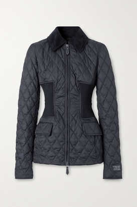 Burberry Corduroy-trimmed Quilted Shell Jacket - Black