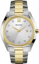 Bulova Diamonds Mens Diamond-Accent Two-Tone Stainless Steel Watch 98D125