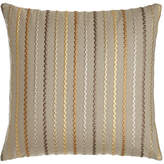 "Square Feathers D'Or Stripes Pillow, 22""Sq."