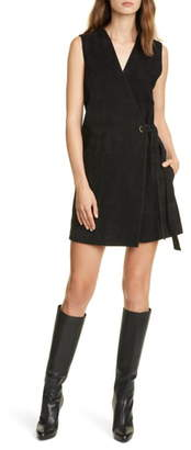 Club Monaco Sleeveless Suede Wrap Dress