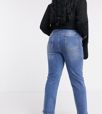 ASOS DESIGN Curve high rise 'sassy' cigarette jeans in authentic midwash
