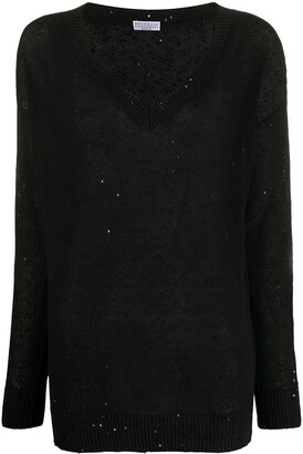 Brunello Cucinelli Sequin-Embellished Loose-Fit Jumper